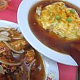天津飯と鶏酢