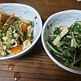 水菜とゴーヤ(にがうり)